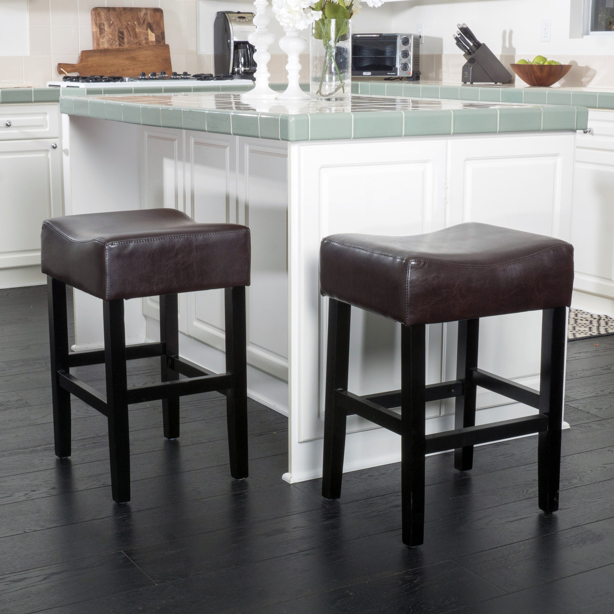 Details About Portman 26 Inch Bonded Leather Backless Counter Stool Set Of 2 By Christopher