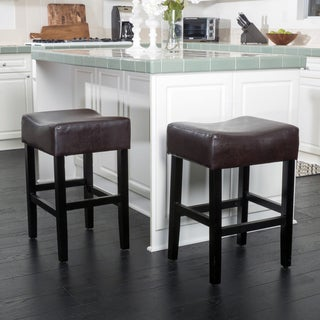 Portman 26-inch Bonded Leather Backless Counter Stool (Set of 2) by Christopher Knight Home