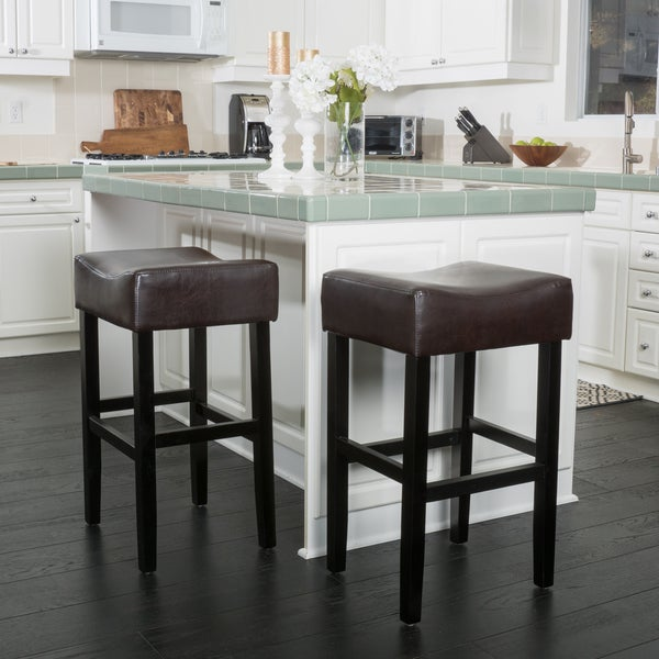 Shop Portman 30 Inch Bonded Leather Backless Bar Stool Set Of 2 By