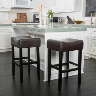 Portman 30-inch Bonded Leather Backless Bar Stool (Set of 2) by Christopher Knight Home