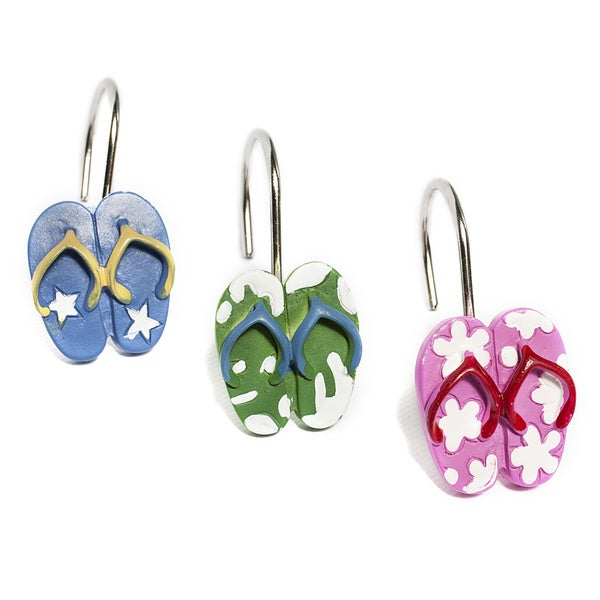 085cdfffde8d Shop Fun and Colorful Flip Flops Hand Crafted Shower Curtain Hooks (set of  12) - Free Shipping On Orders Over  45 - Overstock - 10386928