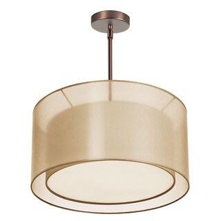 Dainolite 3-light Satin Chrome Pendant With Gold Laminated Shade