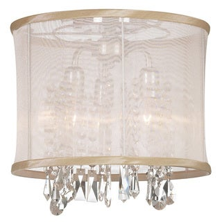 Dainolite 3-light Semi Flush Fixture in Polished Chrome in Oyster Organza Drum Shade