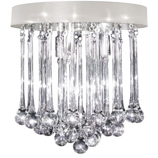 Dainolite 4-light Polished Chrome Flush Mount in Glass Droplets with Oyster Shade