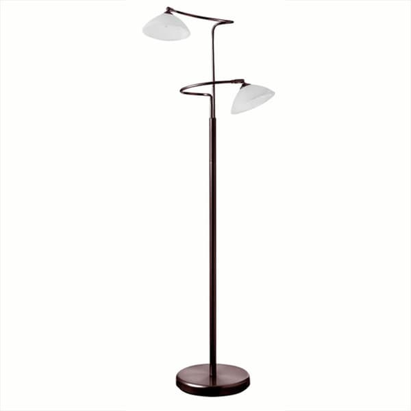 Dainolite 2-light Floor Lamp in Oil Brushed Bronze with Frosted White Glass Shade