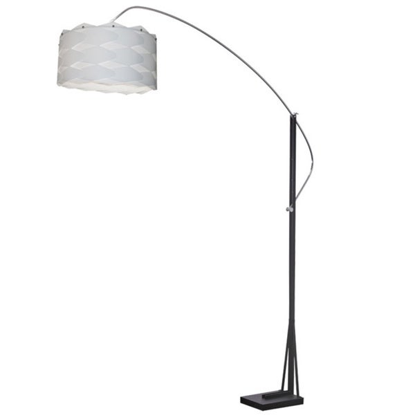 Dainolite Arc Floor Lamp Polished Chrome/Black Finish with White Shade