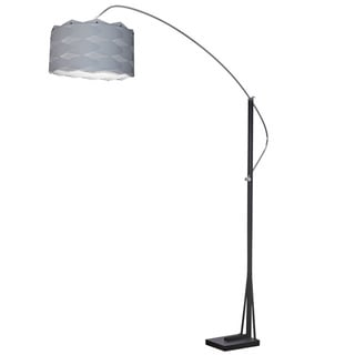 Dainolite Arc Floor Lamp Polished Chrome/Black Finish with Silver Shade