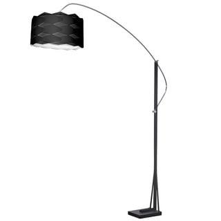 Dainolite Arc Floor Lamp Polished Chrome/Black Finish with Black Shade