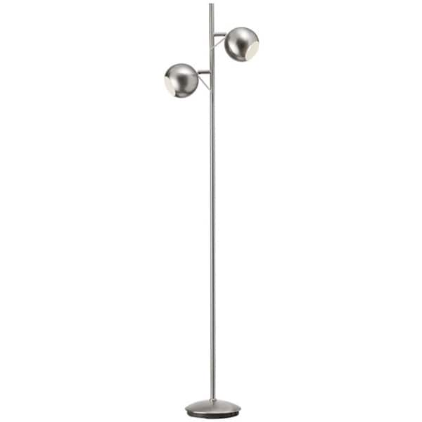 Dainolite 2-light Floor Lamp in Satin Chrome Finish