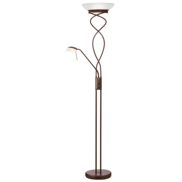 Dainolite Oil Brushed Bronze Mother and Son Torchier Floor Lamp