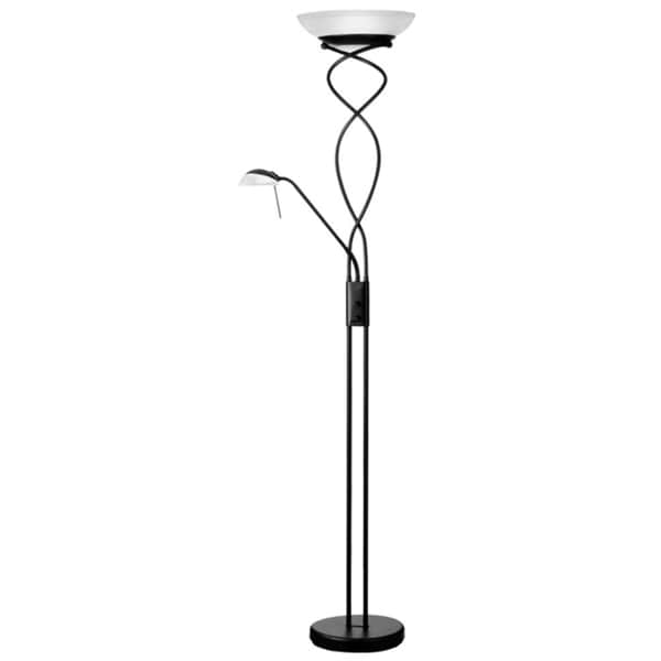 Dainolite Black Mother and Son Torchier Floor Lamp