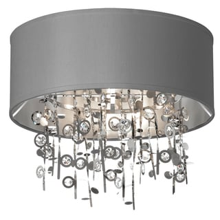 Dainolite 4-light Crystal Semi Flush Fixture with Silver Shade