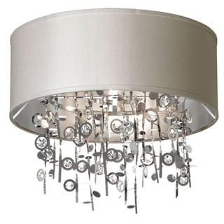 Dainolite 4-light Crystal Semi Flush Fixture with Pebble Shade