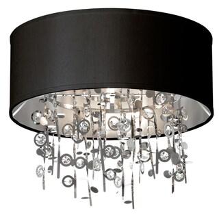 Dainolite 4-light Crystal Semi Flush Fixture with Black Shade
