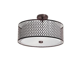 Dainolite 3-light Pendant with Laser Cut Shade in Glass Diffuser in Vintage Oiled Brushed Bronze Finish