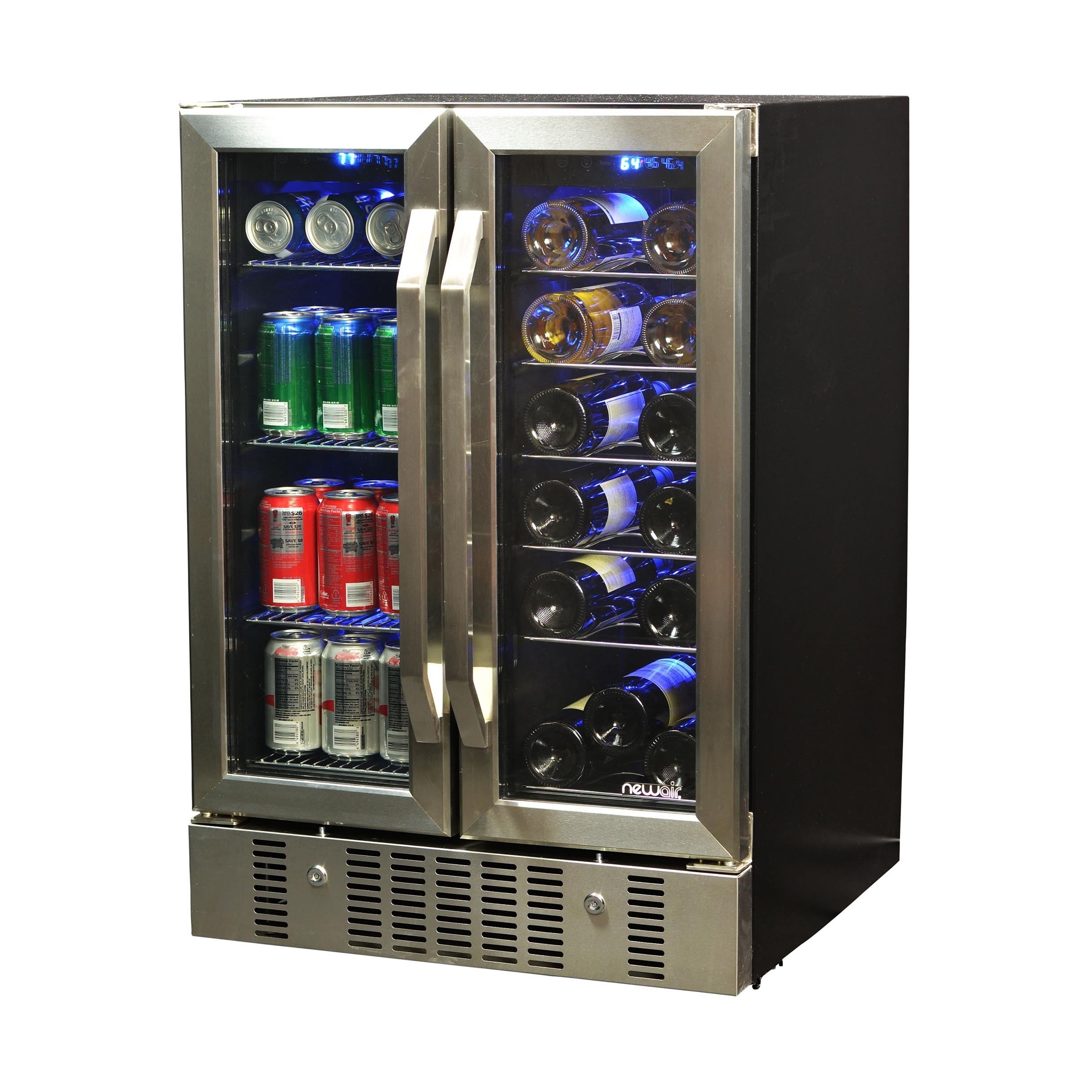Newair 18 Bottle 52 Can Dual Zone Wine And Beverage Cooler Overstock 10387058