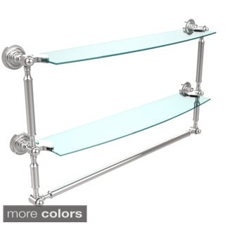 Allied Brass Dottingham Collection 24-inch 2-tiered Glass Shelf with Integrated Towel Bar