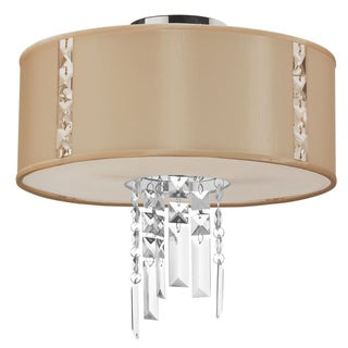 Dainolite 2-light Semi Flush Polished Chrome Fixture in Silk Glow Cream Drum Shade with Crystal Accents