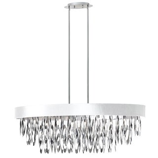 Dainolite 8-light Oval Chandelier with White Shade Polished Chrome Finish