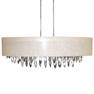 Dainolite 8-light Oval Chandelier with Cream Shade Polished Chrome Finish