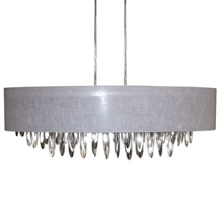 Dainolite 8-light Oval Chandelier with Grey Shade Polished Chrome Finish