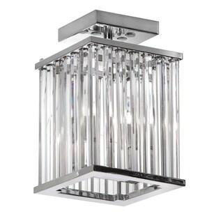 Dainolite 2-light Crystal Flush Mount Fixture Polished Chrome Finish