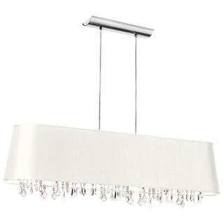 Dainolite 5-light Crystal Pendant Jewel Tone White Shade 17 Strands Crystal|https://ak1.ostkcdn.com/images/products/10387134/P17491244.jpg?impolicy=medium