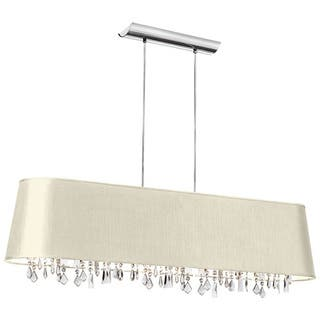 Dainolite 5-light Horizontal Crystal Chandelier in PC finish in Ivory Baraness Shade in Silver Lining|https://ak1.ostkcdn.com/images/products/10387144/P17491243.jpg?impolicy=medium