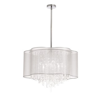Dainolite 6-light Polished Chrome Crystal Pendant with White Laminated Organza Shade