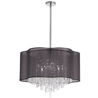 Dainolite 8-light Crystal Chandelier in Polished Chrome in Black Laminated Organza Shade