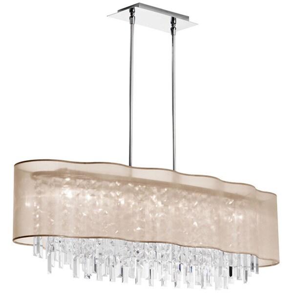 Dainolite 8 Light Horizontal Crystal Chandelier In Polished Chrome Gold Laminated Organza Shade