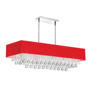 Dainolite 10-light Horizontal Crystal Polished Chrome Chandelier Red Linen Rectangular Shade