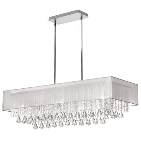 Dainolite 10 light horizontal crystal polished chrome chandelier white laminated organza shade