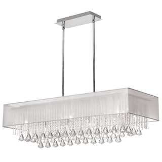Dainolite 10-light Horizontal Crystal Polished Chrome Chandelier White Laminated Organza Shade