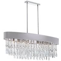 Dainolite 8-light Oval Crystal Polished Chrome Chandelier in Silver Micro Shade