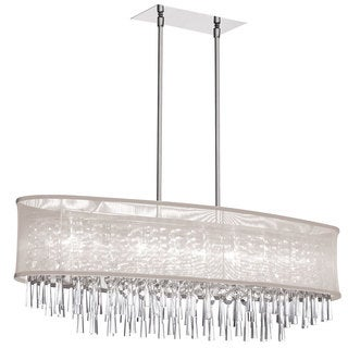Dainolite 8-light Crystal Oval Polished Chrome Chandelier in Oyster