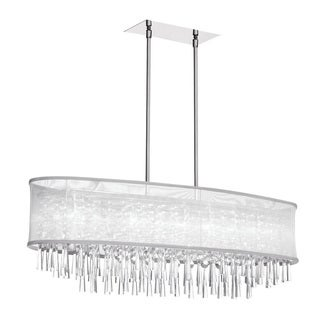 Dainolite 8-light Crystal Oval Polished Chrome Chandelier in Oval White Organza Shade