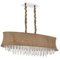 Dainolite 8-light Oval Crystal Polished Chrome Chandelier in Oval Latte Bell Shade - Neutral