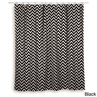 Rizzy Home Chevron Shower Curtain (Option: Black)