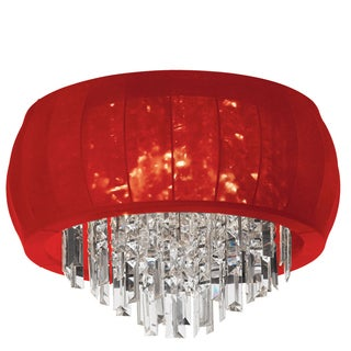 Dainolite 8-light Crystal Polished Chrome Flush Mount Fixture in Red Lycra Shade