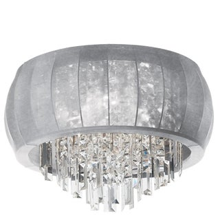 Dainolite 8-light Crystal Polished Chrome Flush Mount Fixture in Silver Lycra Shade