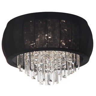 Dainolite 8-light Crystal Polished Chrome Flush Mount in Black Lycra Shade