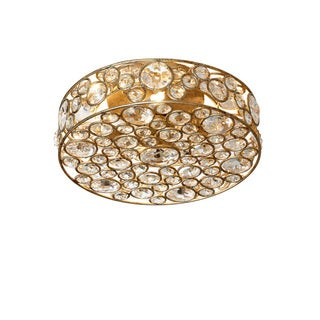 Dainolite 4-light Semi Flush Crystal Fixture in Gold Finish