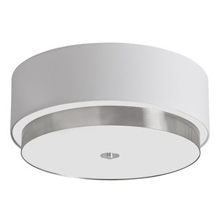 Dainolite 20 inch Flush Mount Satin Chrome Finish with White Linen Shade