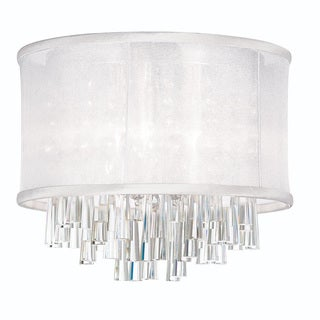 Dainolite 4-light Crystal Polished Chrome Flush Mount Fixture in White Organza Drum Shade