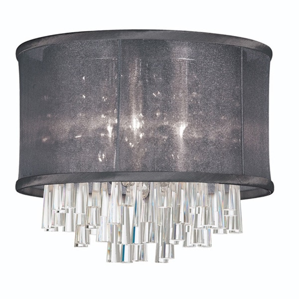 Dainolite 4-light Crystal Polished Chrome Flush Mount Fixture in Black Organza Drum Shade