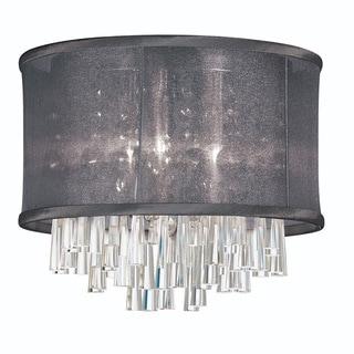 Dainolite 4-light Crystal Polished Chrome Flush Mount Fixture in Black Organza Drum Shade
