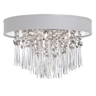 Dainolite 4-light Crystal Polished Chrome Flush Mount Fixture in White Baroness Micro Shade