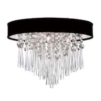 Dainolite 3-light Crystal Polished Chrome Flush Mount Fixture in Black Lizagator Micro Shade