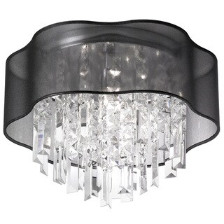 Dainolite 4-light Crystal Polished Chrome Flush Mount Fixture in Black Laminated Organza Shade